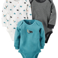 3-Pack Long-Sleeve Thermal Bodysuits