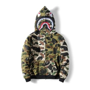 HCXX Hot BAPE A Bathing Ape Hoodie Sweats Camo Men's Shark Head Full Zip Coat Jacket