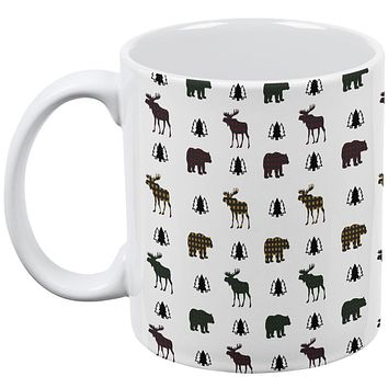 Autumn Plaid Bear and Moose Pattern All Over Coffee Mug
