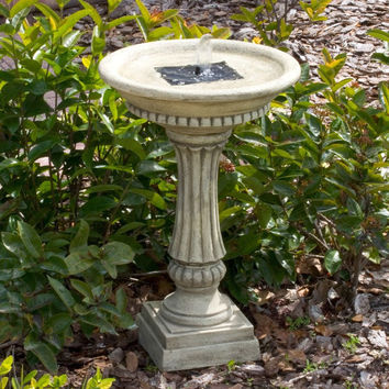 Outdoor Resin Stone Solar Bird Bath Fountain