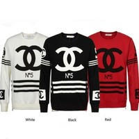 CHANEL Fashion Casual Long Sleeve Sport Top Sweater Pullover Sweatshirt White I