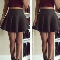 Knitted Mini Flared Skirt - Charcoal