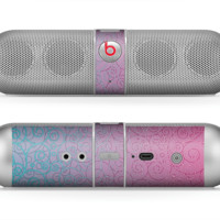 The OverLock Pink to Blue Swirls Skin for the Beats by Dre Pill Bluetooth Speaker