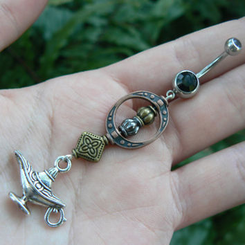 genie in a bottle belly ring aladdin's lamp Copper  beads in belly dancer fantasy gypsy hippie morrocan boho and hipster style