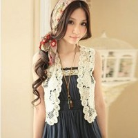 Graceful and Distinctive Crochet Design Off-White Lace Sleeveless Waistcoat China Wholesale - Everbuying.com