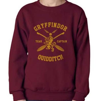 Gryffindor Quidditch team Captain YELLOW print on Maroon Crew neck Sweatshirt