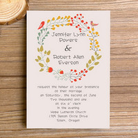 Lovely bohemian wedding invitation kit – colorful country wedding invite cards – spring and summer wedding theme EWI300