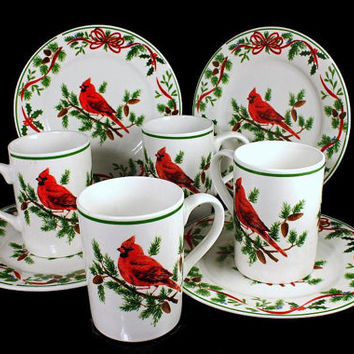 Christmas Dessert Plates and Mugs  American Atelier Cardinal Pattern Service for Four