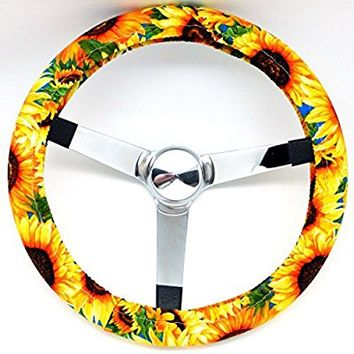 Mana Trading Handmade Steering Wheel Cover Large Sunflowers Floral