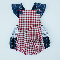 Baby Girl Romper, Baby Girl 4th of July Romper, Baby Girl Fourth of July, Baby Girl Sunsuit, Baby Girl Outfit, Bubble Romper, 4th of July