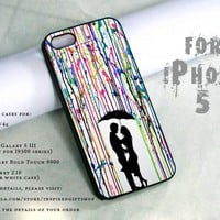 watercolor painting drip design print - black case - for iPhone 5