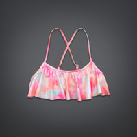 Shine Watercolor Ruffle Swim Top