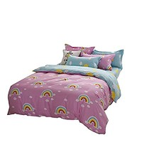 YOUSA Rainbow Reversible Duvet Cover Cloud Bedding 4Pcs Bedroom Set, Queen