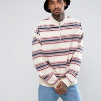 ASOS Oversized Half Zip Track Sweatshirt with Stripe at asos.com
