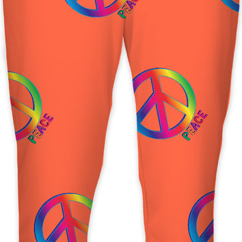 Peace and love orange joggers, hippie symbol jogging pants design
