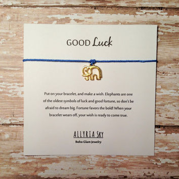 Lucky Elephant Wish Bracelet | Make a Wish Friendship Bracelet | Good Luck Wish String Bracelet