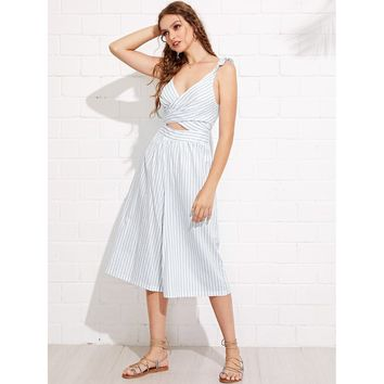 White Cross Wrap Open Midriff Pinstripe Culotte Jumpsuit