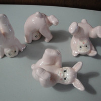 Vintage FF Children Tumbling  in Light Pink Bunny Costumes Set of Four Small Figurines