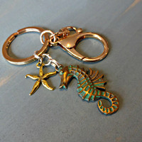 Nautical Seahorse Keychain, Nautical Gift, Starfish Keychain, Beach Keychain, Ready to Ship