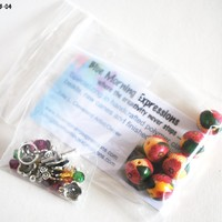 Bracelet Bead Kit, Red Flower Beads with Swarovski Crystals, Handmade Polymer Clay Beads