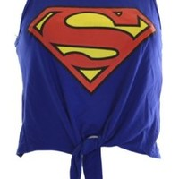 Womens Blue Superman Tie up Crop Top (4/6 (UK8/10))