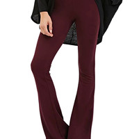 Burgundy High Waist Plain Flared Pants