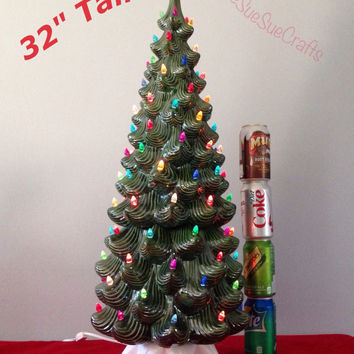 new 32 tall vintage style ceramic lighted green christmas tree