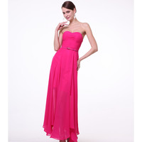 Fuchsia Strapless Chiffon Belted Dress 2015 Homecoming Dresses