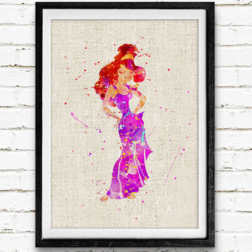 Princess Megara Watercolor Print, Disney Baby Girl Nursery Decor, Wall Art, Home Decor, Gift Idea, Not Framed, Buy 2 Get 1 Free!