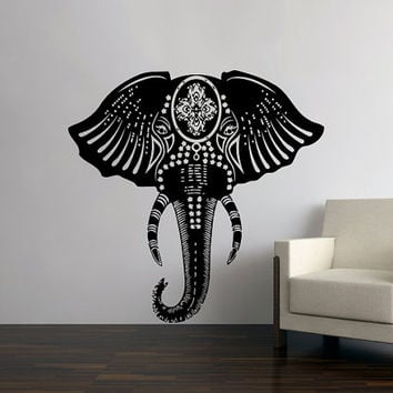 Indian Elephant Floral Pattern Wall Decals - Wall Vinyl Decal - Interior Home Decor - Elephant Wall Decal - Art Vinyl Sticker Decal V1074