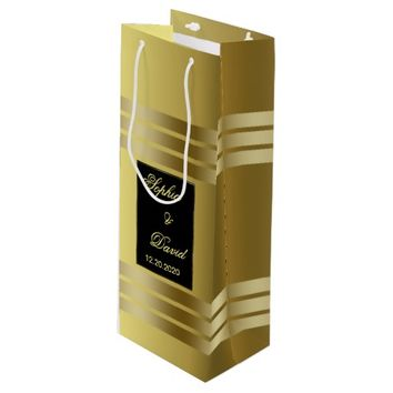 Classic Gold and Black Wedding Custom Favor Bag Wine Gift Bag