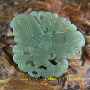 Free shipping-hand carved natural jade dark green butterfly charm good luck pendants