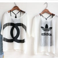 Chanel and Adidas loose two pieces top blouse shirt