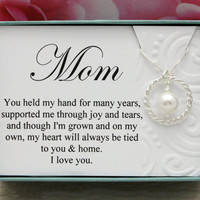 Gift for Mom necklace from Groom or Bride gift for Mother 925 Sterling silver Swarovski pearl bridal party gift weddings eternity necklace