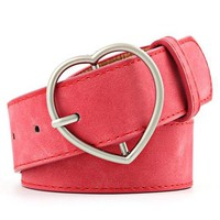 Vegan Leather Red Heart Belt - Tunnel Vision