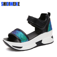 SHIDIWEIKE Glitter wedges  Gladiator Sandals 2017 Summer  Style Creepers Platform Shoes Woman Gold Silver Flats Women Shoes L073