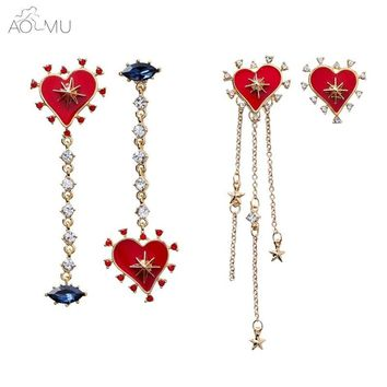 AOMU 2018 New Korean Red Love Heart Asymmetrical Star Earrings For Girls Blue Zircon Star Tassel Long Earrings Broncos Jewelry