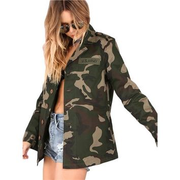 Lightweight Camo Patch Button Down Jacket Color Block Single Breasted Woman  New Fashion New Autumn Jacket
