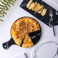 Creative Marble Stripe Large Rectangle And Round Ceramic Pizza Plate Cookware Porcelain Sushi Tableware Serving Dish Dinnerware