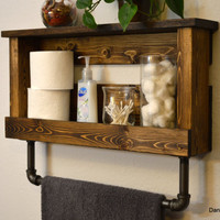 "Rustic Modern Industrial Bathroom Shelf with Cast Iron 18"" Towel Bar Dark Walnut Finished Wood"