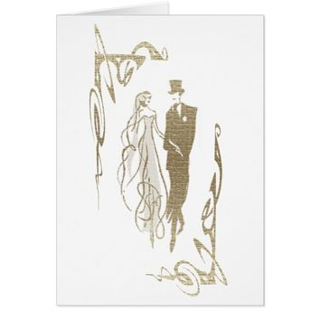Bride and Groom Wedding & Anniversary Art Gifts Card