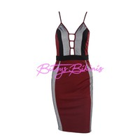 Dark Red Color Block Dress