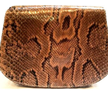 Artisanal Handmade Bag Genuine Leather Crossbody Snakeskin Handbag True Vintage