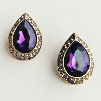 Royal Purple Crystal Renaissance Earrings - Made in Italy