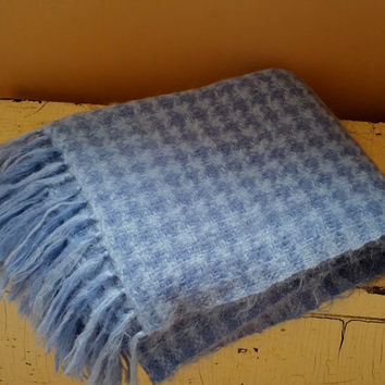 Blue Mohair Wool Blanket Fringed Vintage Throw