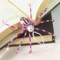 "Christmas Spider - Purple and Silver, Beaded Christmas Spider -- ""Legend of the Christmas Spider"""