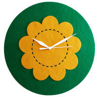 Green And Mustard Wall Clock - Flower Clock - Round Wall Decor