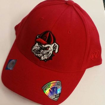 ESBON NCAA Georgia Bulldogs Top of the World Mascot Logo Red One-Fit Hat