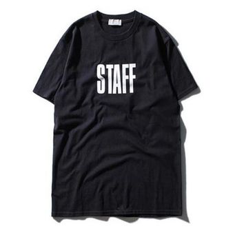 STAFF T Shirts Men Summer AUTOMNE-HIVER Kanye Skateboard Catwalk 100% Cotton Male Justin Bieber Pairs Hip Hop T-shirts