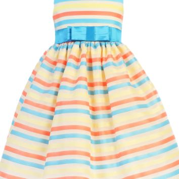 Striped Organza over Ivory Satin Easter Spring Dress w Turquoise Sash (6 Months - Girls Size 7)